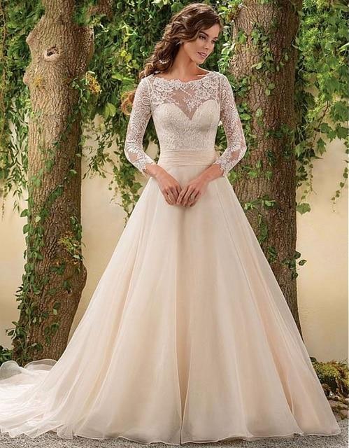 Langarm Spitze Hochzeitskleid Vintage Eine Linie Chiffon