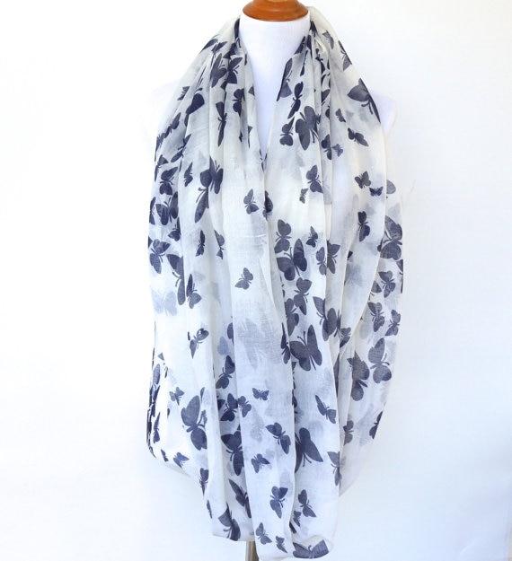 Blanc papillon Infinity Écharpe Printemps De Mode de Femmes Écharpe Cadeau  Pour Son Châle Fête Des Mères Cadeau 61e7e0b9317