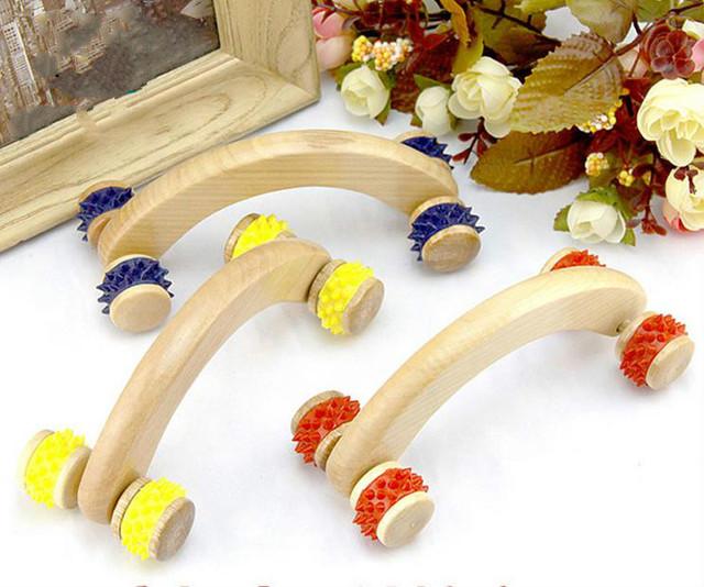 New natural wooden massager curved round body roller massager hands push bent round thin roller massager abdomen