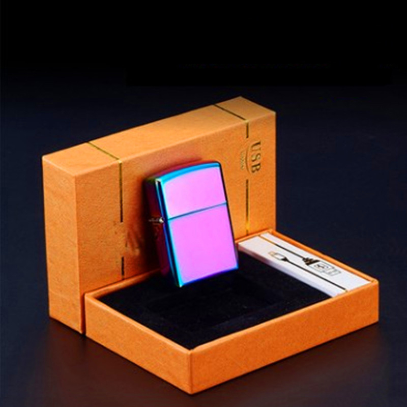 10pcs lot 2017 Multiple color electronic lighter New isqueiro cigarette tool with box font b USB