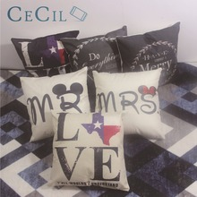 Decorative Cushion Cover 45x45cm Letter Printing Thin Cotton Linen Home Decor Bedroom Sofa Waist Square Throw Pillow Cover