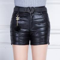 Plus Size Pu Shorts Women Winter 2017 New Thicking Warm High Waist Skinny Shorts High quality size 5XL Leather Shorts WH01