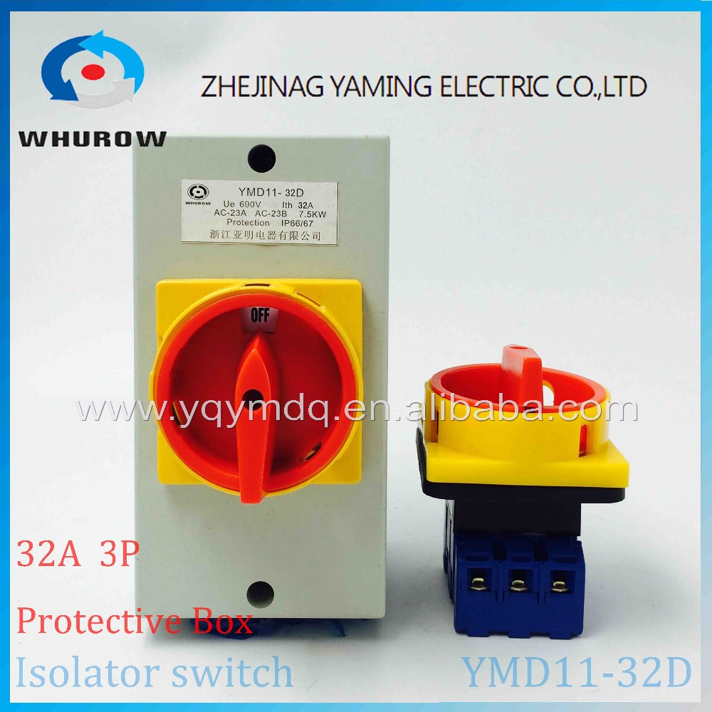 Isolator switch with protective box cover waterproof YMD11-32D 3P IP66 rotary changeover switch on-off power cutoff 660v ui 10a ith 8 terminals rotary cam universal changeover combination switch