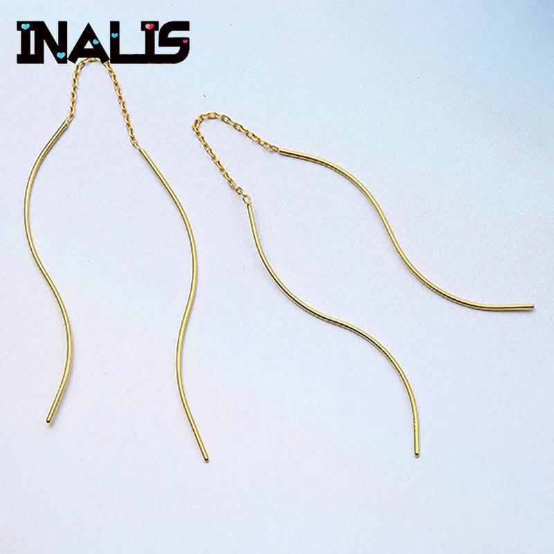 INALIS Earrings Jewelry Curved-Ear-Line Long-Chain Fine-Bijoux Women Korea for Temperament