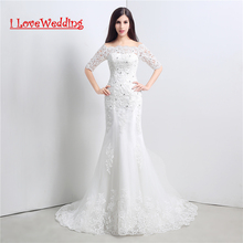 Stock Setengah Lengan Lace Wedding Dress 2015 Mermaid Bridal Gown Putih / Gading Kristal Kembali Lace Up Robe De Mariage