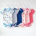 5 peças/lote curta-Mangas Compridas bodysuits para meninos meninas macacões Roupas de Bebê dos desenhos animados Infantil 2014 novo frete grátis