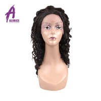 Alimice Deep Wave Brazililian Human Hair Wig 4 Hand Made Lace Frontal Wig Natural Color Remy