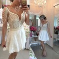 Amazing Short Pearls Cocktail Dresses Short Beading Keyhole Lace Homecoming Party Dresses robe de cocktail