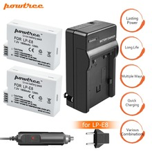 2X LP-E8 LP E8 Battery 72V 1800mAh +Battery Charger+Car charger For Canon EOS 550D 600D 650D 700D kiss X4 X5 X6i X7i  L15