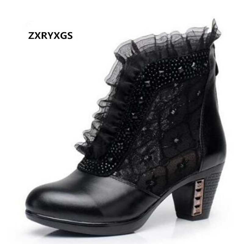 2019 Spring and Summer Shoes Women Sandals Elegant Rhinestone Genuine Leather Shoes Mesh Boots Lace Hollow