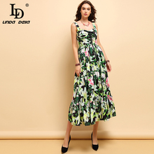 LD LINDA DELLA New Fashion Spring Summer Midi Dress Womens Casual Spaghetti Strap Bow Tie Draped Floral Printed Elegant Dresses