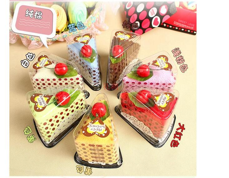 10PCS / lot! 창조적 인 귀여운 샌드위치 케이크 수건 축제 웨딩 용품 수건 크리스마스 선물 수건 30 * 30 cm