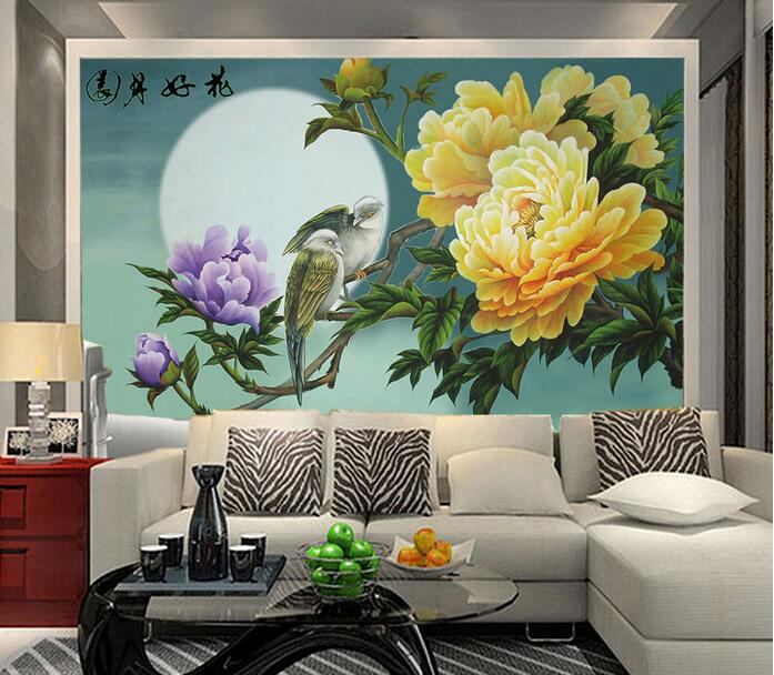 3d wallpaper custom mural non-woven 3d room wall sticker 3 d Chinese moon flowers peony painting photo wallpaper for walls 3 d ножницы по металлу gross piranha 78329
