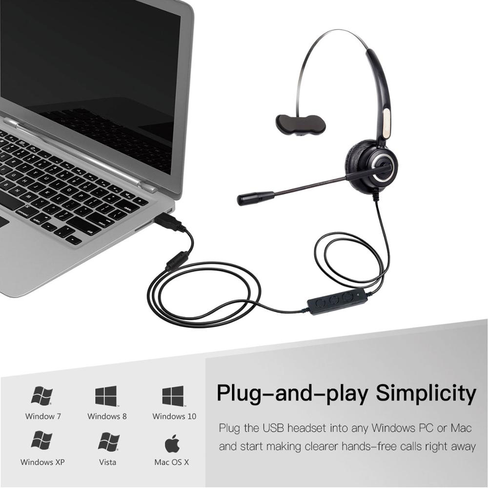 VH510 Call Center Office Headset With Mic USB Wired Mono Telephone Voice Interphone Headphone For PC Computer Volume Control in Headphone Headset from Consumer Electronics