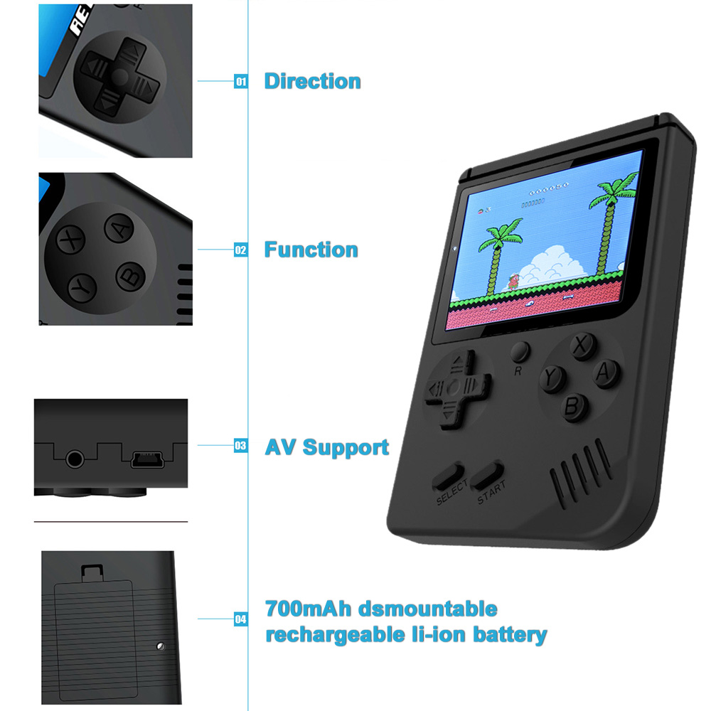 AV Port MINI Video Game Console 3.0 inches Portable Handheld Game Player Built-in 168 Games Video Games Best Gift For Kids 1