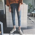 2017 spring summer printing paste fashion jeans blue cloth foot trousers cultivate one's morality leisure nine minutes of pants