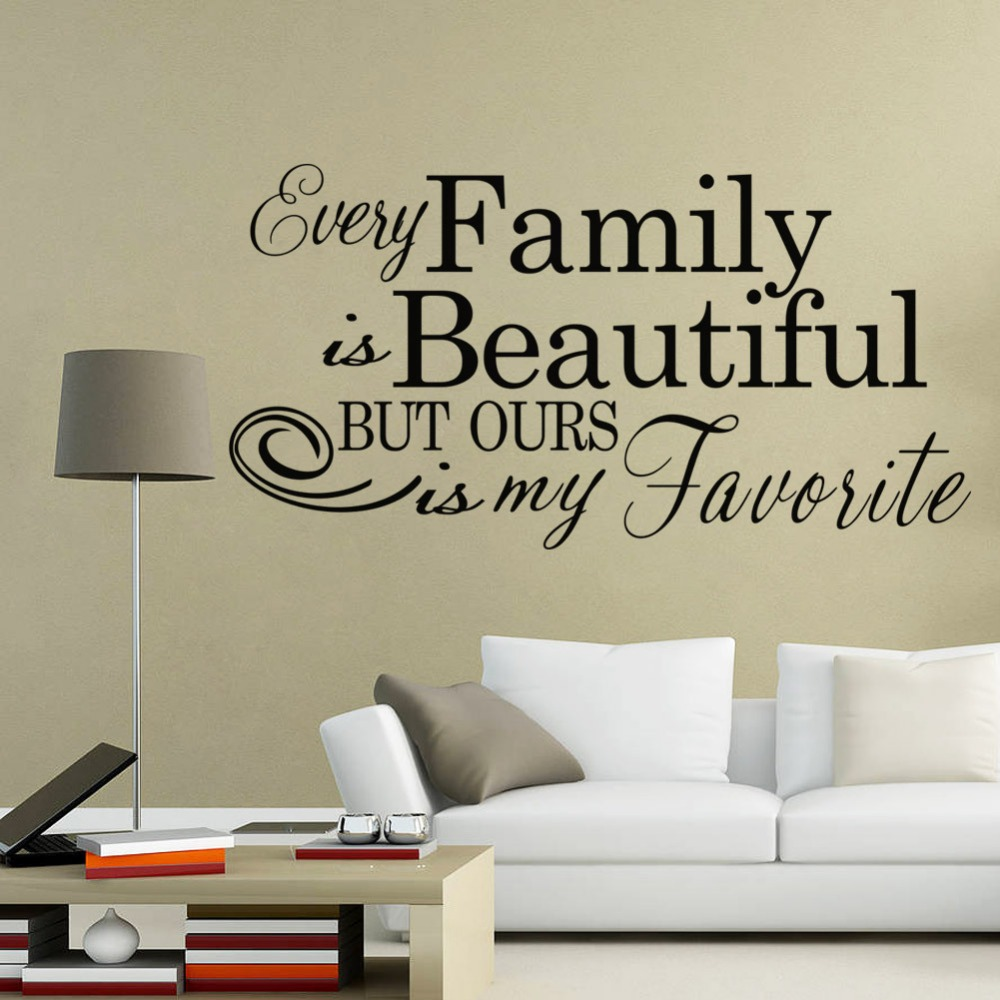 Every Family Is Beautiful Quotes Wall Stickers Inspirational Quotes Living  Room Bedroom Home Decor Diy