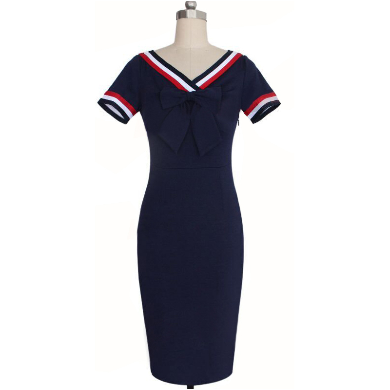 Oxiuly Dropshipping Womens Summer Casual V Neck Bow Stretchy Knee Length Dodycon Pencil Dress S XX in Dresses from Women 39 s Clothing