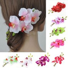 Women Artificial Phalaenopsis Flower Heads Large Hair Clip Fake Butterfly Orchid Floral Bridal Hairgrip Wedding Decor Barrettes