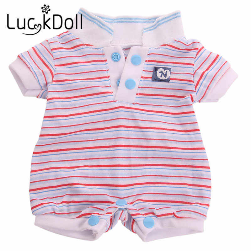 LUCKDOLL  High Quality One-Piece Dress Stripes Spring And Summer Suitable For 18 Inch American Doll 43cm Doll Accessories