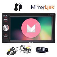6.2 ''Android 6.0 Dubbel Din in Dash Auto Dvd-speler GPS navigatie Head Unit Spiegel link Airplay 1080 P Video + draadloze Camera
