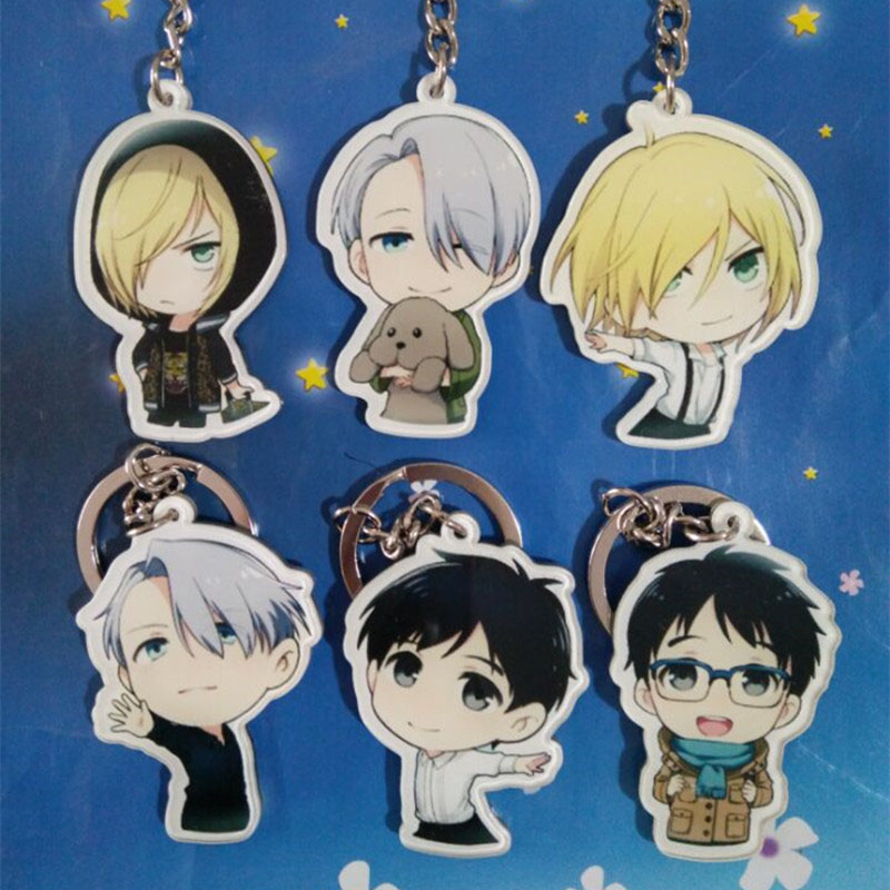 Halder YURI on ICE Keychain Anime Victor Nikiforov Yuri Katsuki Pendant Keyrings Trinkets Accessories Figures Key