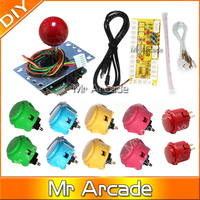 Free shipping Original Joystick DIY Kit Zero Delay Arcade DIY USB Encoder To PC Sanwa Joystick Original Sanwa Push Buttons Mame