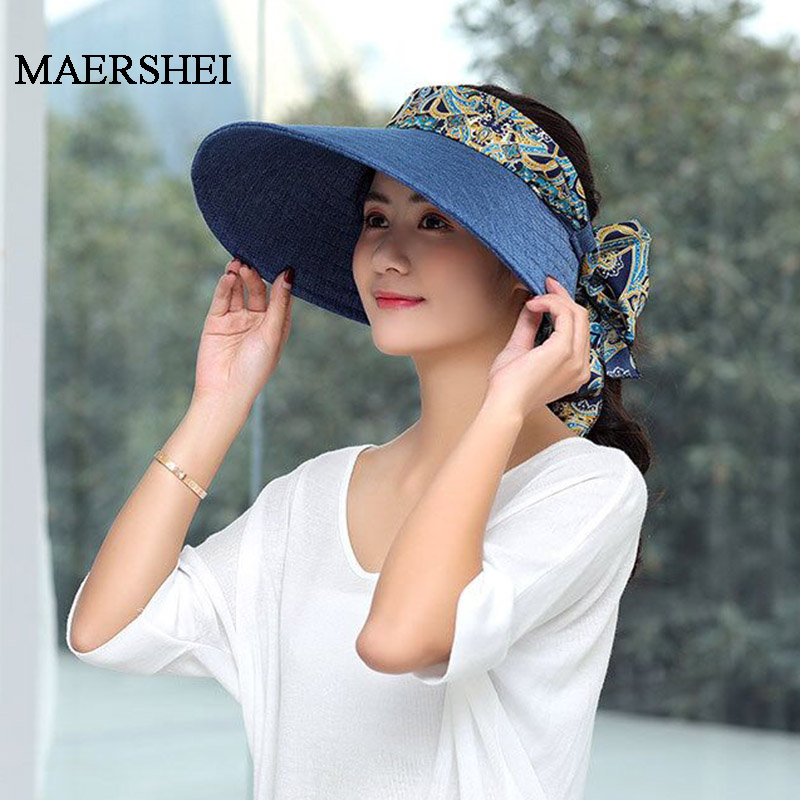Fashion Bowknot Decorated Empty top Sun Visors Hat Woman Summer Caps Outdoor Breathable Anti-UV Hat Sombreros