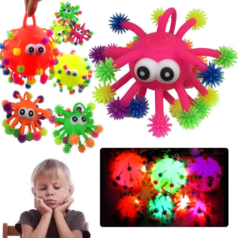 2017 LED Light Squeeze Anti Stress Toys Autism Flush Snowflake Hair Flash Ball 5 Inch Fiddle Elasticity Funny Toys For Children