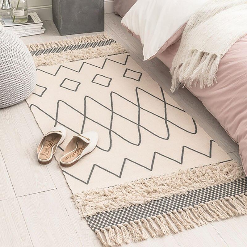 Les petits tapis imprimés tissés à la main de coton du maroc ont tufté des glands avec l'anti tapis de jet de protection de dérapage tapis lavable de bain de Machine, tapis de paillasson - 2