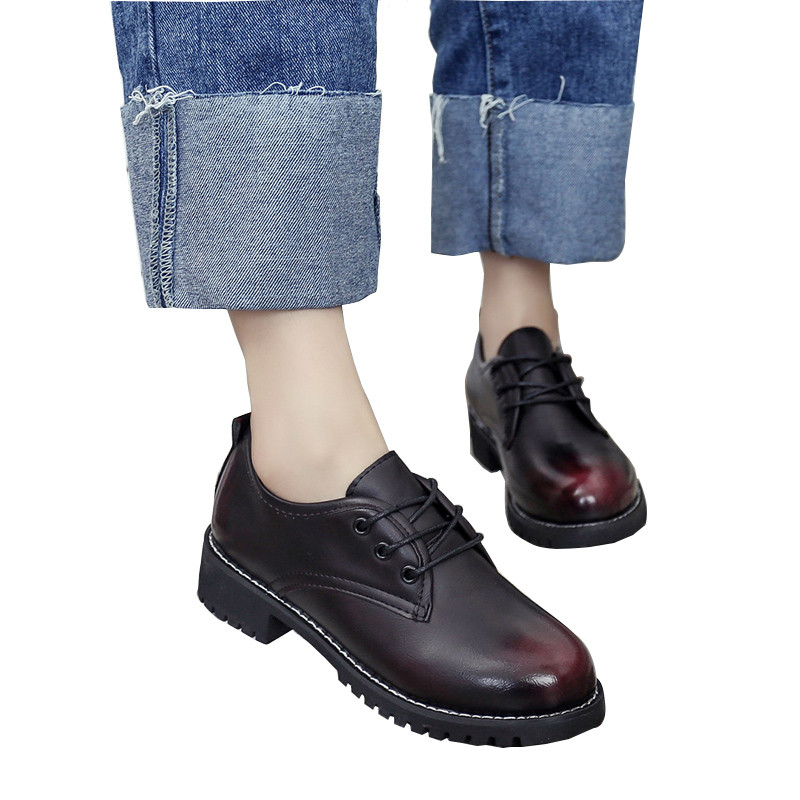 7955fc922a7a Rimocy British vintage red black patchwork women ankle boots fashion 2017 thick  heels lace up casual shoes woman platform flats-in Ankle Boots from Shoes  on ...