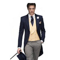 Latest Style High Quality Slim Fit Navy Bule Swallow Tailed Coat Jacket Men Suits 3 Pcs Fashion Formal Handsome Terno Masculino