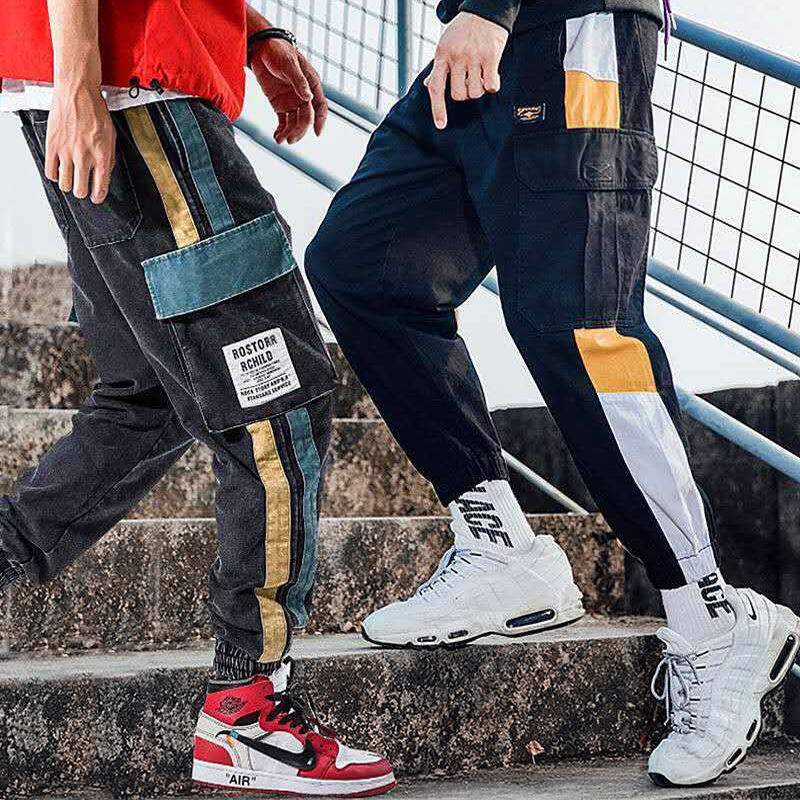 Cargo Pants Men Vintage Hip Hop Streetwear Patchwork Joggers Harem Pocket Elastic Waist Loose Ankle Length Trousers Techwear