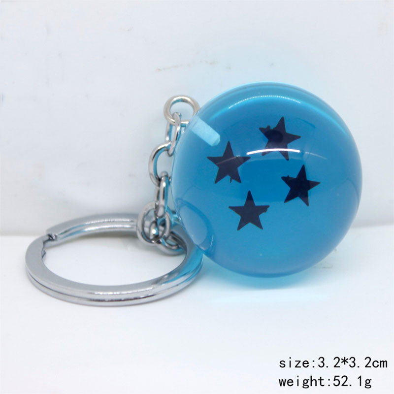 ZOEBER Anime Blue Color Dragon Ball Z Keychains with box Resin 7stars Goku Dragon Key Chains for men child Toy Gift key Ring