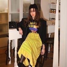 Plus Size High Waisted Vintage Harajuku Streetwear Style Yellow Striped Print Elastic Waist Lace-UP Big Skirt Midi Skirts striped print elastic waist skirt