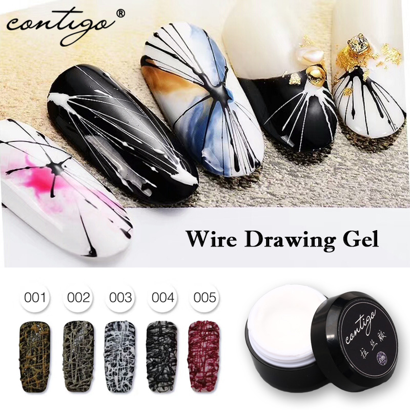 Contigo Wire Drawing Gel Latest Product DIY UV Gel For Nail Design 5Colors Special Offer Fast Simple Nails Art Drawing Gels