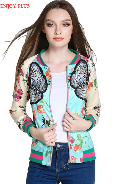 chest 96 -121cm spring 2017 butterfly flower jacket women print plus size casual long sleeve outerwear L – 5XL