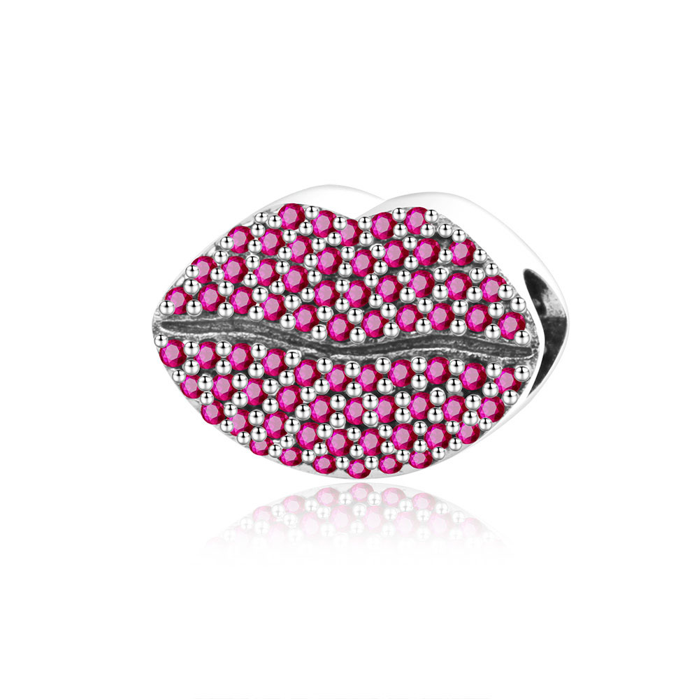 Authentic 925 Sterling Silver Bead Charm Women Glamour Red Zircon lips Fit Original Pandora Charm Bracelets Bangle DIY Jewelry