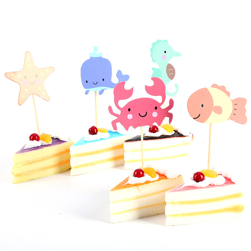 Baking Birthday Cake Decoration Insert Color Cartoon Card Decoration Insert Marine Animal Flags 5 Piece Unicorn Party Garland