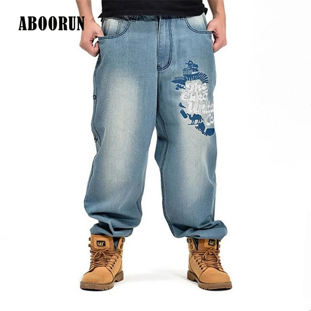 все цены на  ABOORUN 2016 Hip Hop Mens Baggy Jeans Casual Harem Jeans Denim Pants Z1186  онлайн