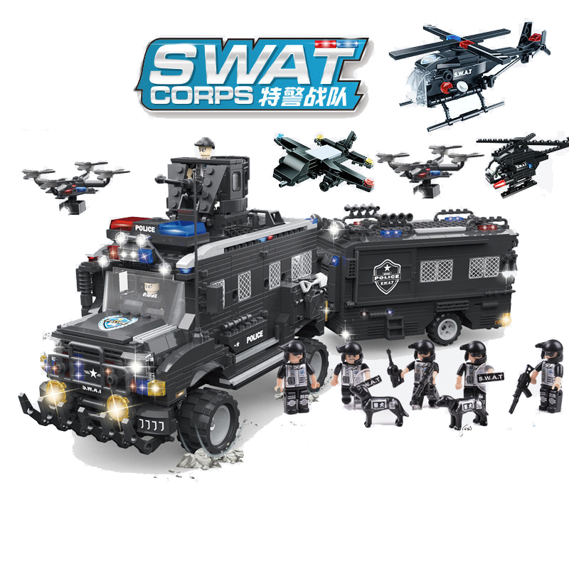1663pcs Children s building blocks toy Compatible city SWAT Special police tyrannosaurus assault riot armored vehicle