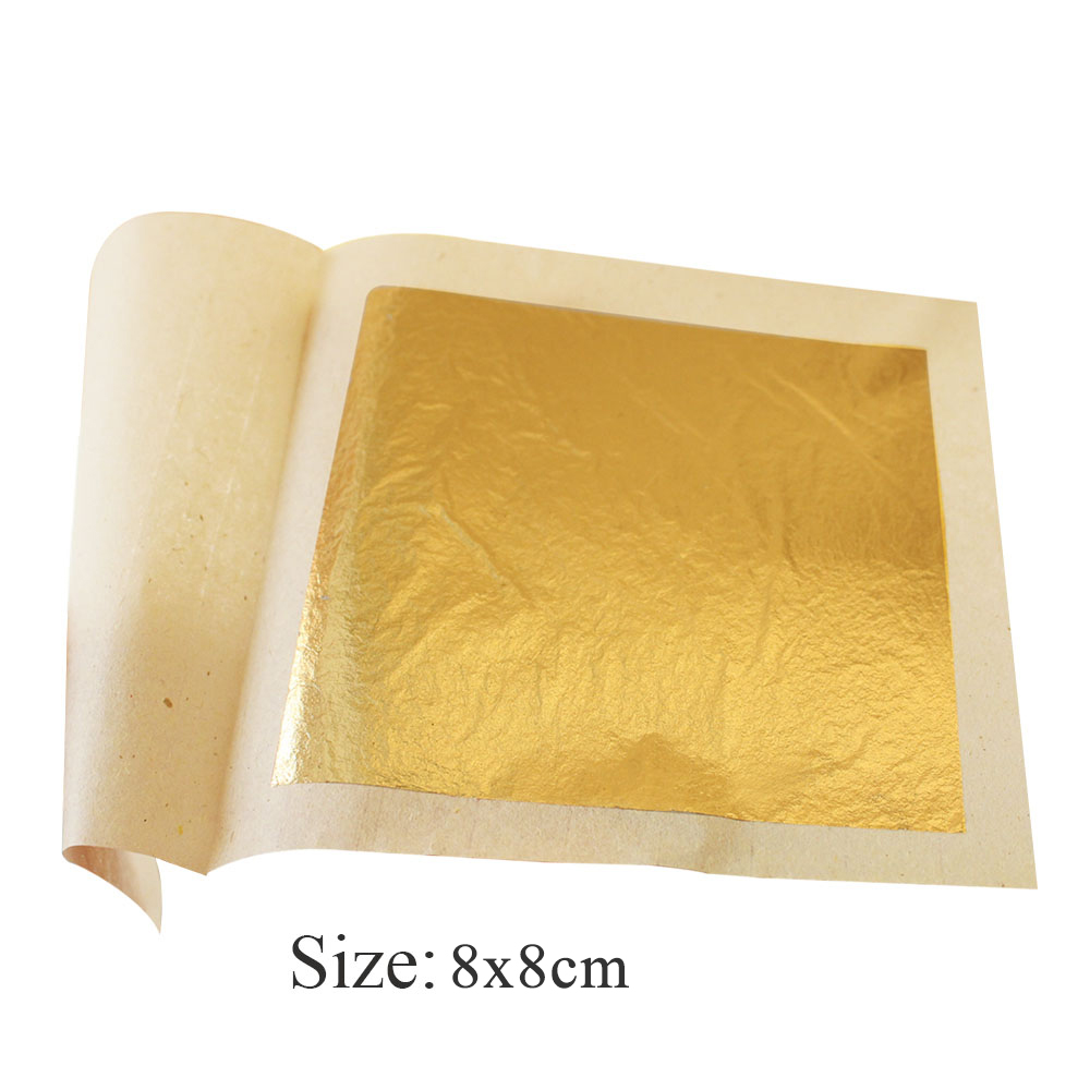 25 Pcs 8x8cm 24K Genuine Edible Gold Leaf Sheets, Food Grade,Suits Food Decoration Cake Ice-cream Chocolate Pizza Healthy&tasty