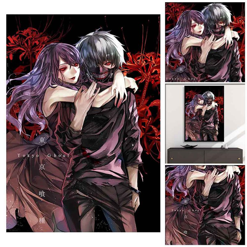 Light Canvas Poster Silk Wall-Picture Painting Print Manga-Series Tokyo Ghoul Home-Decor