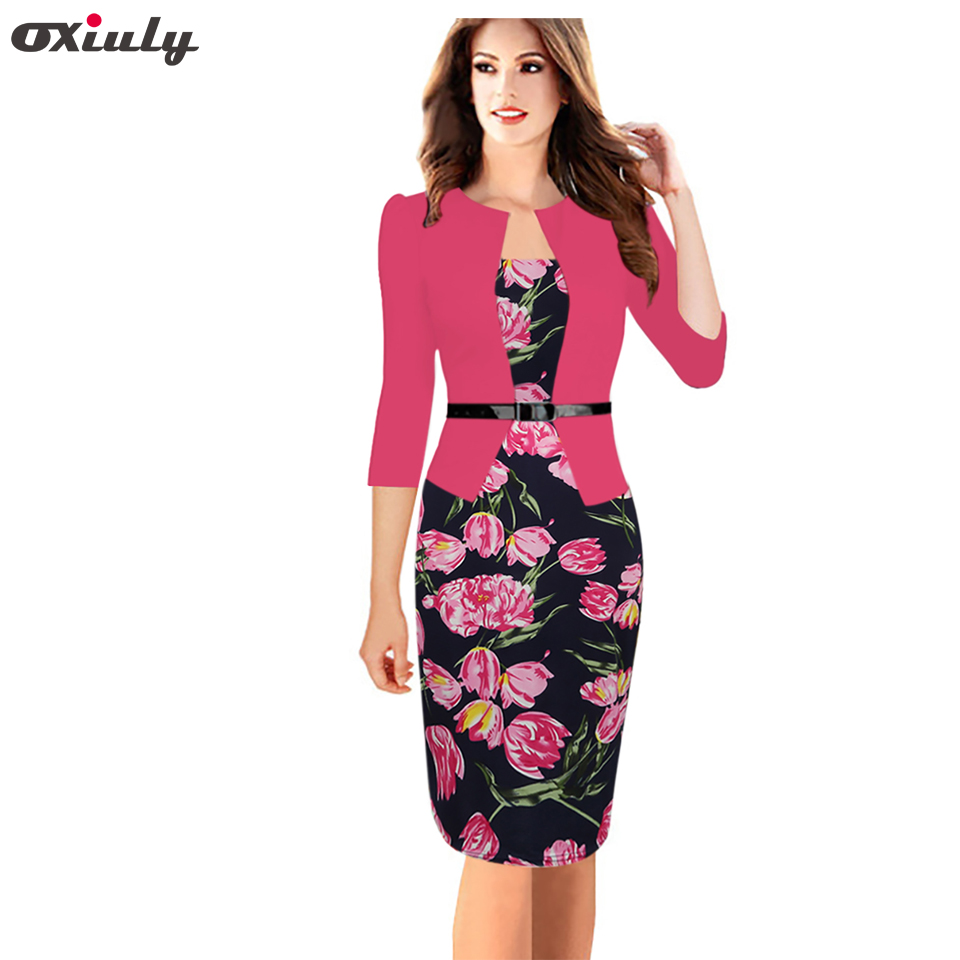 Oxiuly Womens Fitted One-Piece Faux Jacket Belted Tartan Rose Flower Print Patchwork Office Wear Business Work Sheath Dress