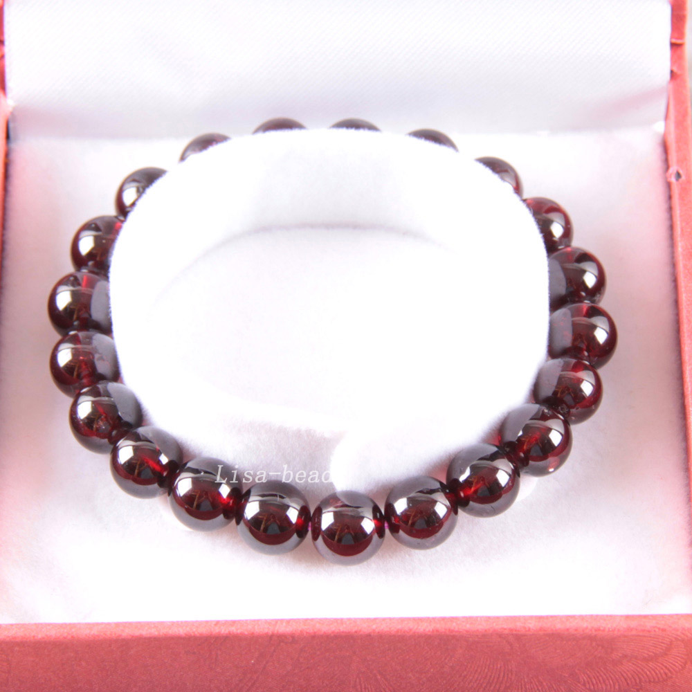 Free Shipping Free Shipping Fine Jewelry 7MM AA 100% Natural Red Garnet Stretch Bracelet 7 with Gift Box RJ031 free shipping 100