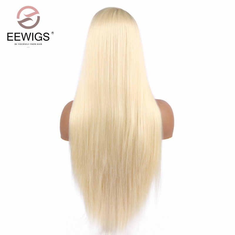 EEWIGS Silky Straight 13x6 syntetyczna koronka peruka front przedziałek z boku blond peruka Glueless peruki termoodporne dla czarnych kobiet