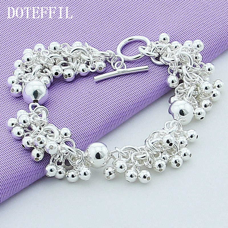 Wholesale 925 Silver Color Charm Bracelets Jewelry Grapes More Beads Jewelry Bracelet Plated Silver Bracelet Women B015 Gift