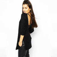 2016 Women Ladies Sexy Backless Tops Open Back Casual Shirts Long Sleeve Fashion Summer Black T