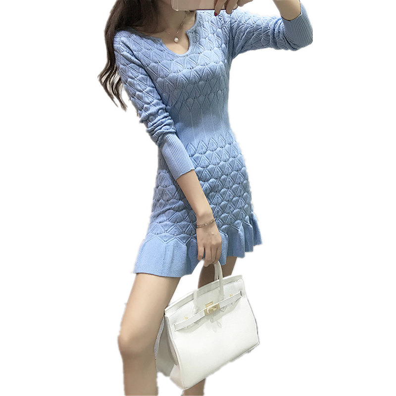 Runway Dress Women Autumn Winter Sexy Dress Long Sleeve Thicken Party Slim Fit Package Hip Hedging Knitted Sweaters Dresses
