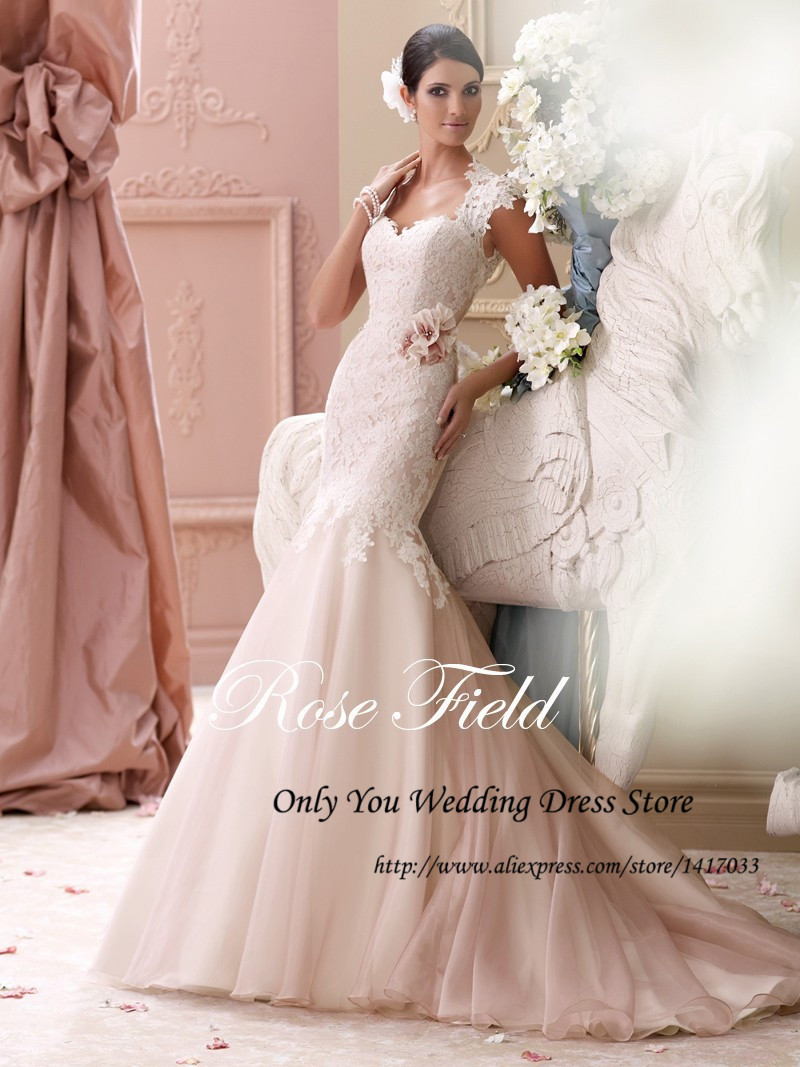 wedding dresses blush color blush colored wedding dresses Custom Made Blush Colored Illusion Dropped Waist Luxury Wedding